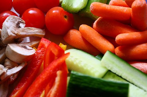 A whole lotta chopped veggies