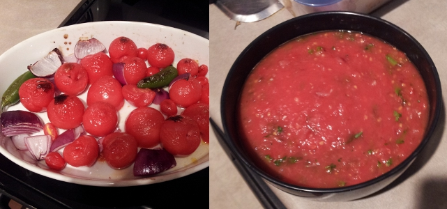 Before/after picture of roasted tomato salsa