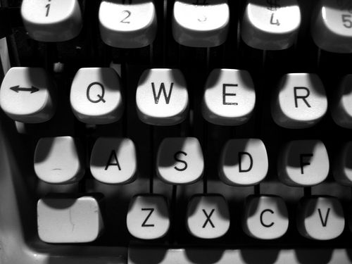 Typewriter keys in black and white photo