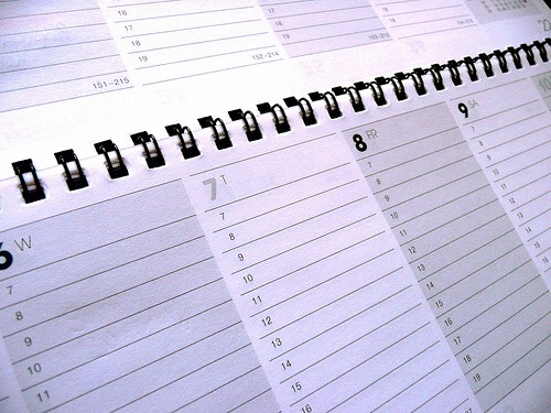 View of a calender in weekly format