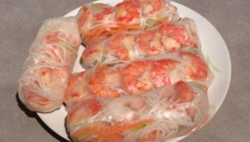 Plate of homemade shrimp salad rolls