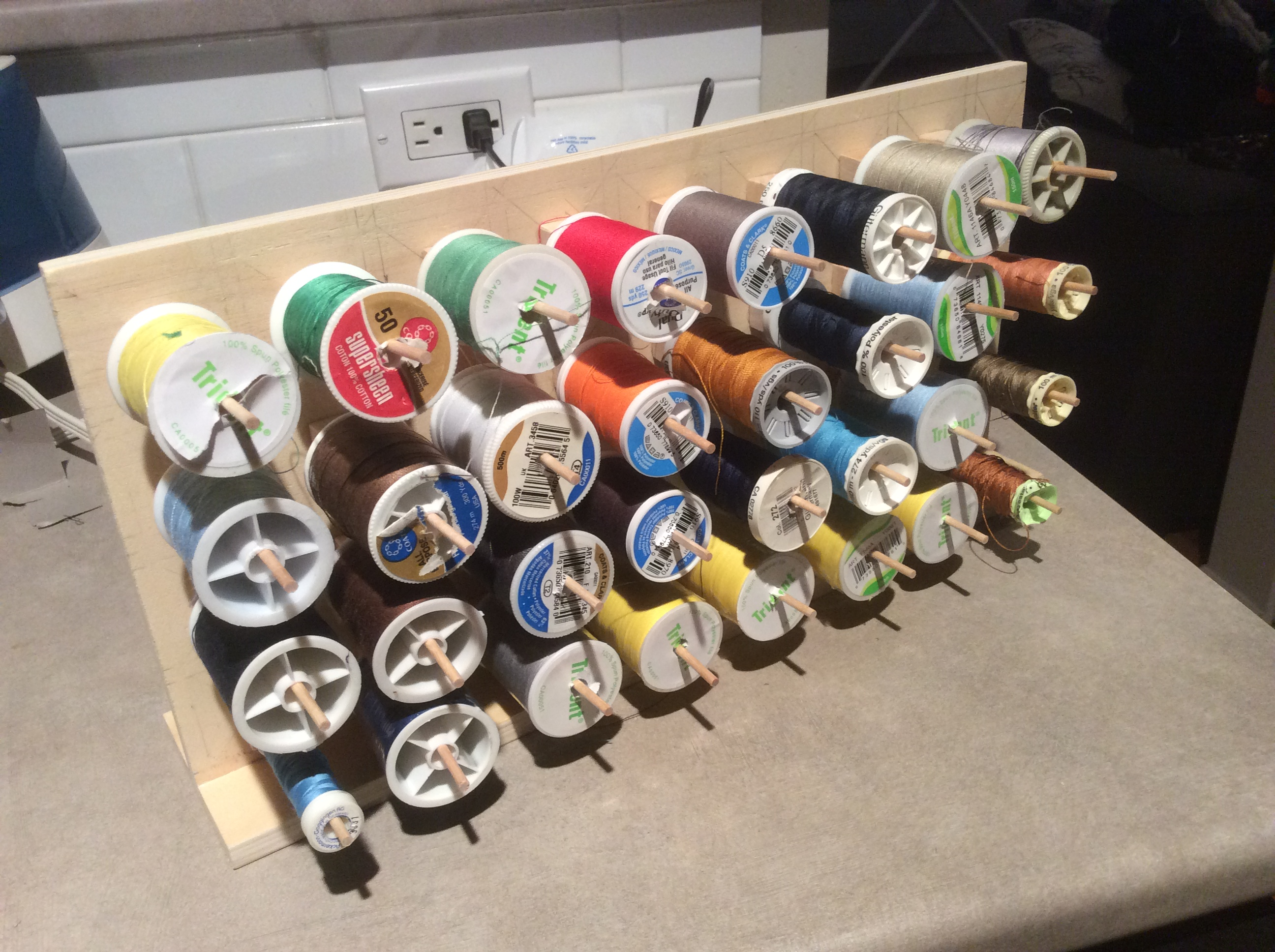 Boom. Thread spools added to the board