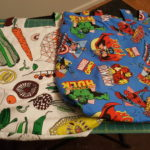 Vegetable and Marvel themed tote bags