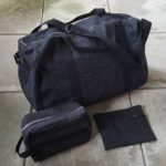 Portside duffel bag with pouch and dopp kit, pattern from Grainline Studio
