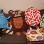 Fish and bear shaped laundry bags. 3 tote bags with fabric from Ikea and Fabricland.
