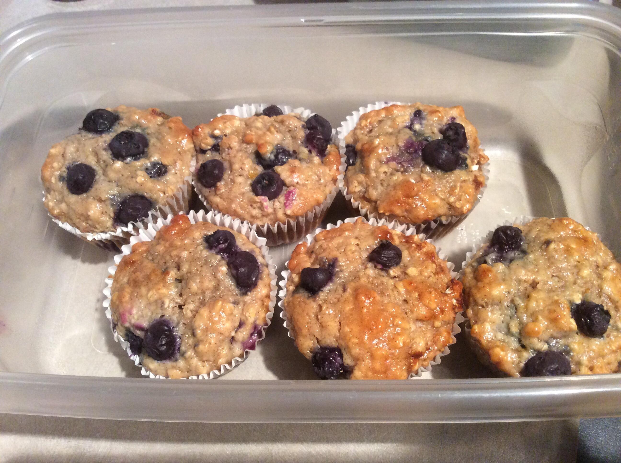 A half dozen blueberry oatmeal muffins